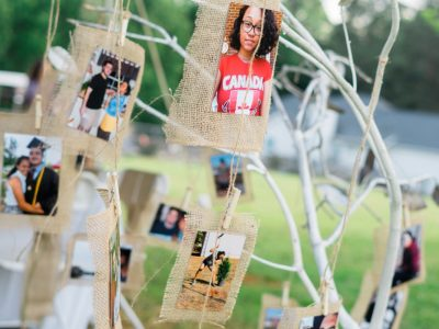 Printed photos hanging on a tree