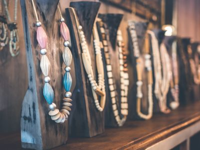 display of necklaces